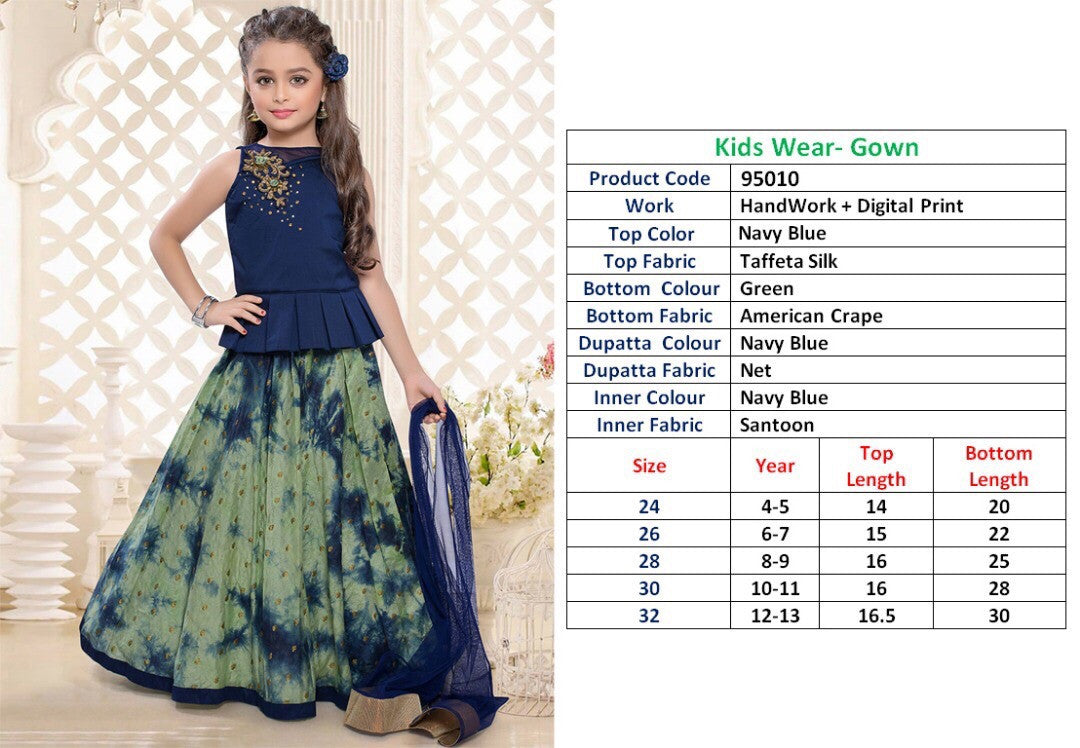 Kids Wear-Gown Navy Blue Taffeta Silk