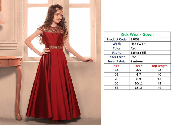 Kids Wear-Gown Navy Red Teffeta Silk