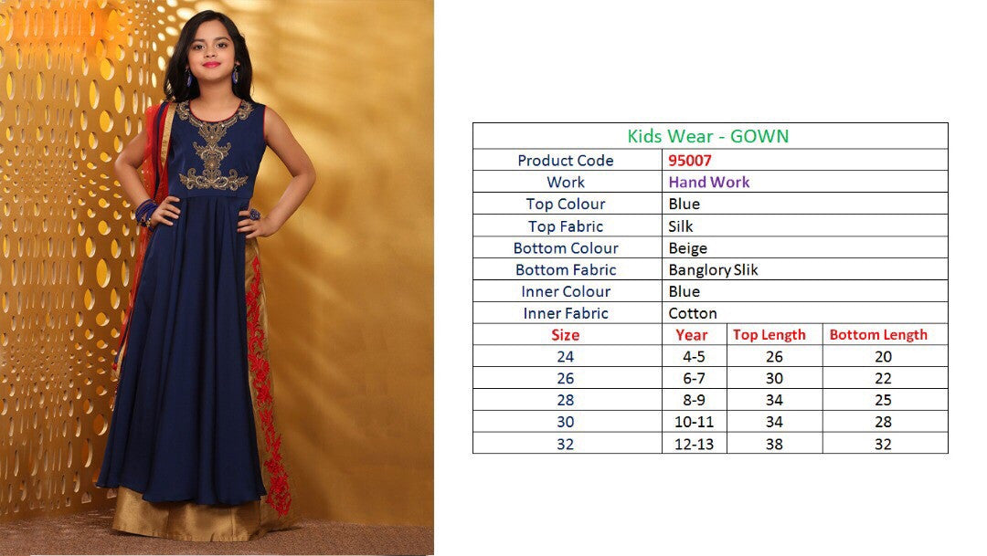 Kids Wear-Gown Navy Blue Silk