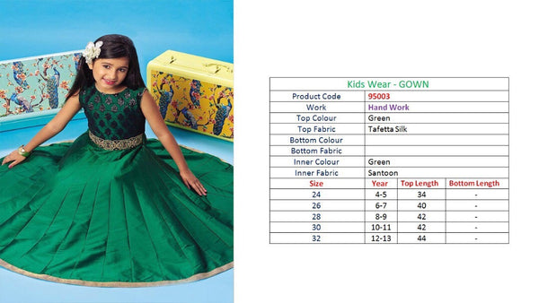Kids Wear-Gown Green Taffeta Silk
