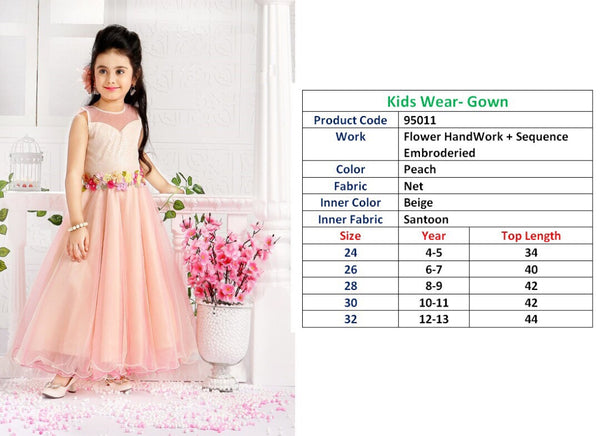 Kids Wear-Gown Peach Net