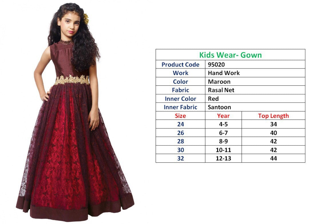 Kids Wear-Gown Maroon Rasal Net