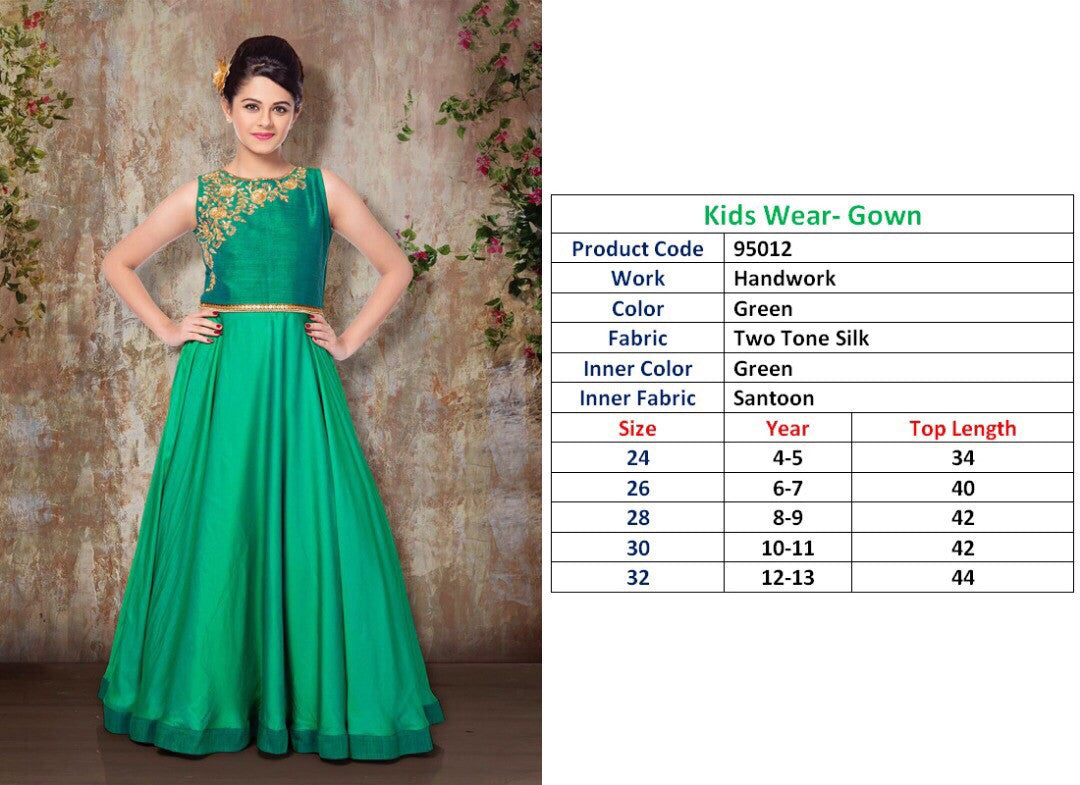 Kids Wear-Gown Green Two Tone Silk