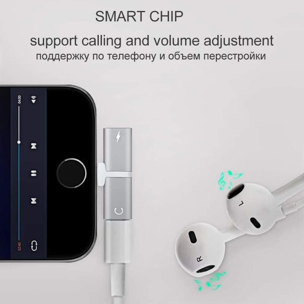 Gadget - Double Jack Audio Adapter For IPhone 7/8/X