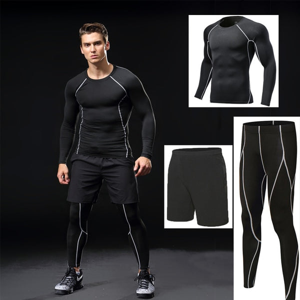 Men 3pcs fitness training suit compression set
