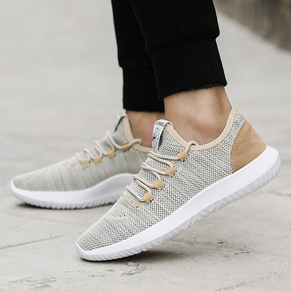 Men Mesh Round Breathable Flat Sneakers