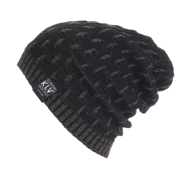 Casual Knitted Men Warm Black Hat