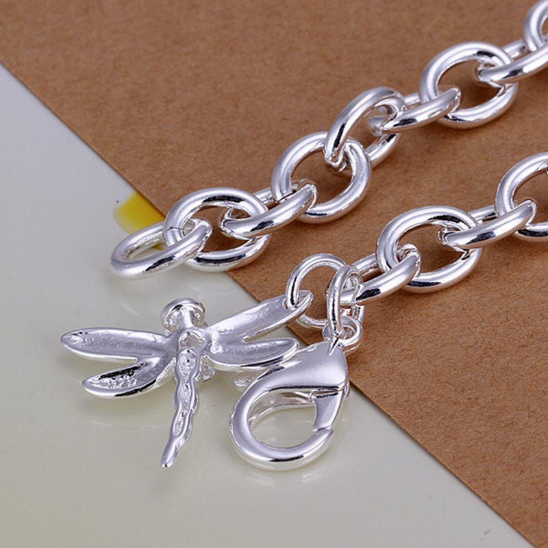 Sterling Solid Silver Jewelry Dragonfly Charm Bracelet For Women