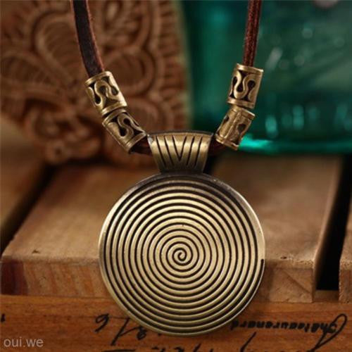 Men's - Women's Retro Alloy Disk Pendent Charm Leather Cord Necklace Jewelry
