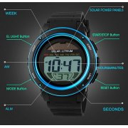 NEW Cam's Multifunction Sports Watch 50M Water Resistance Digital LED Backlight Wrist Watch (All Black Only In Stock Now!!)