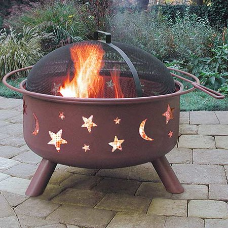 "Cam's ""Crappie Pit"" Outdoor Steel Fire Pit, Stars & Moons, #Thump City Georgia Clay"