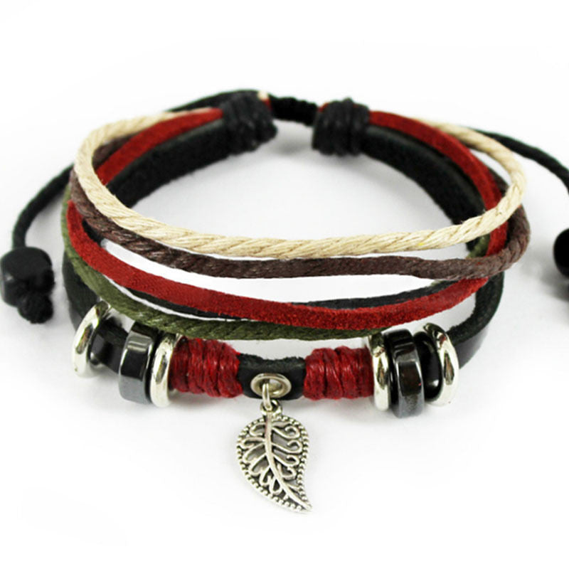 Women's Leaf Black Leather Adjustable Bracelet Handmade Jewelry Cuff
