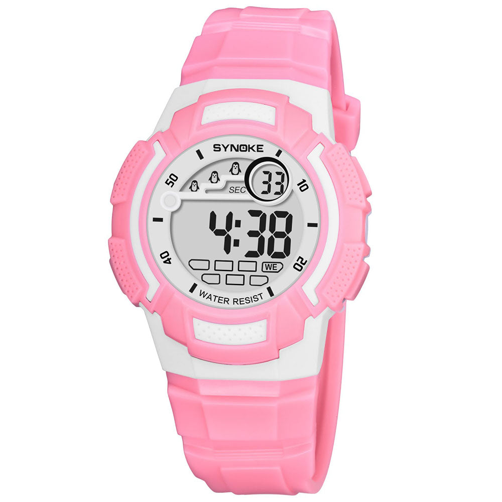 Cam's Sport Children Wrist Watches LED Digital Stopwatch Alarm Luminous Water Resistant Girl's  Watch