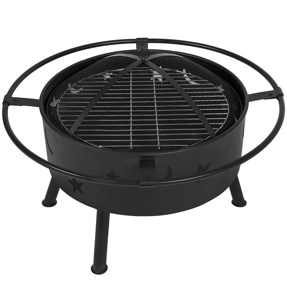"Cams ""Crappie Pit""Outdoor Fire Pit, Stars and Moon, Black"