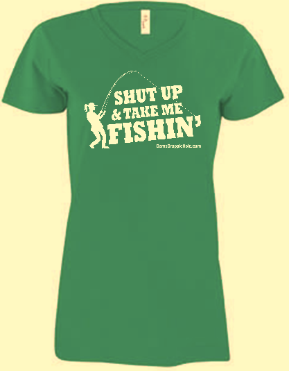 "Ladies V-Neck  Irish Green  ""Shut Up"" Short Sleeve Snug T-Shirt"