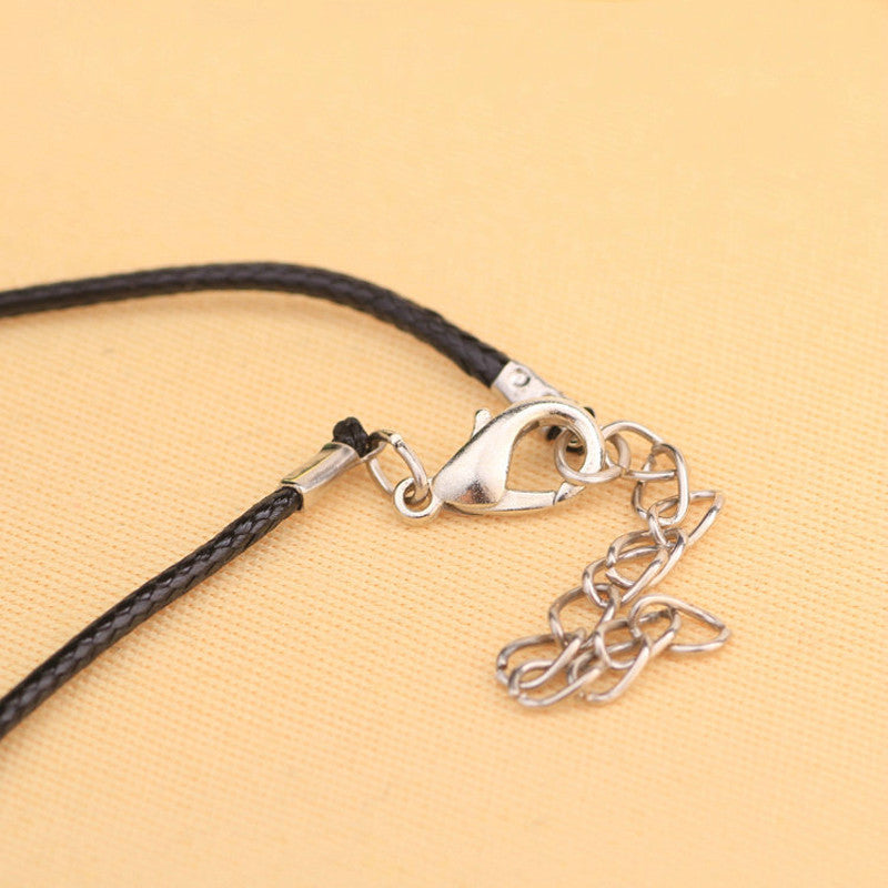Men's - Women's Roman Numerals Ring Buckle Leather Rope Circle Pendant Necklace
