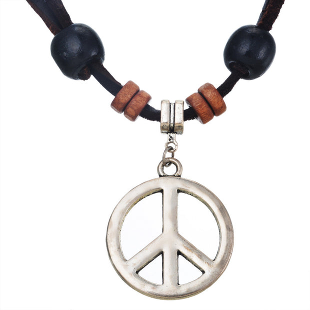 JD Women Men Peace Symbol Brief Pendant Leather Zinc Alloy Necklace