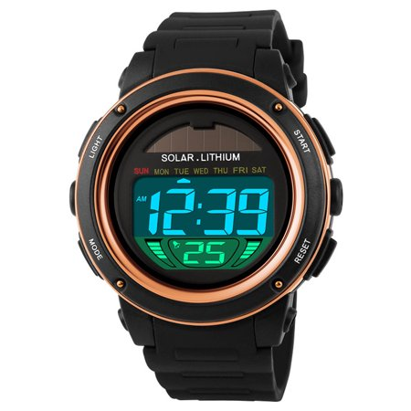 Cam's Solar Powered Digital Men Women Water Resistant Sports Watch