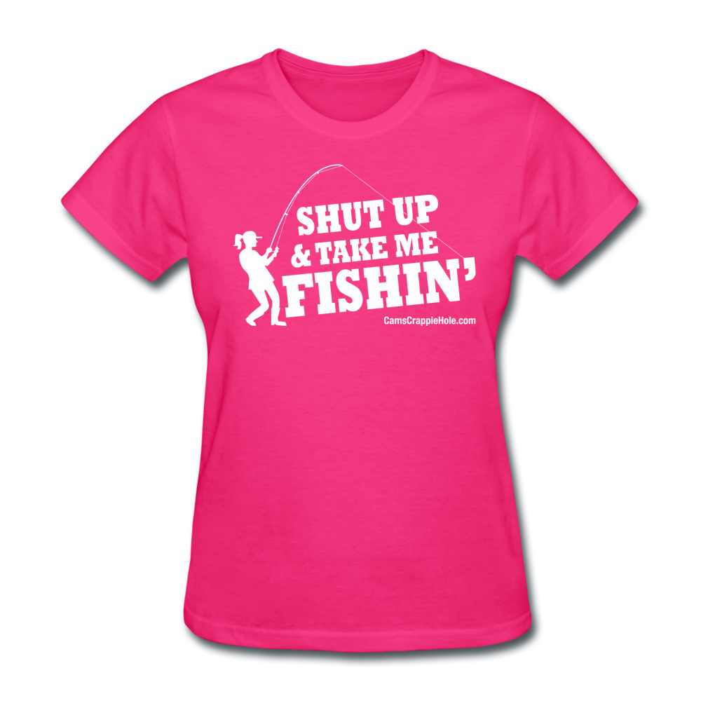 "Ladies  Fuchsia  ""Shut Up"" Crew Neck Short Sleeve T-Shirt"
