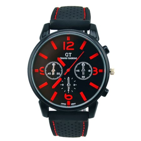 Cam's Big Face Easy to Read Red Color Water Resistant Sports Watch-172-R