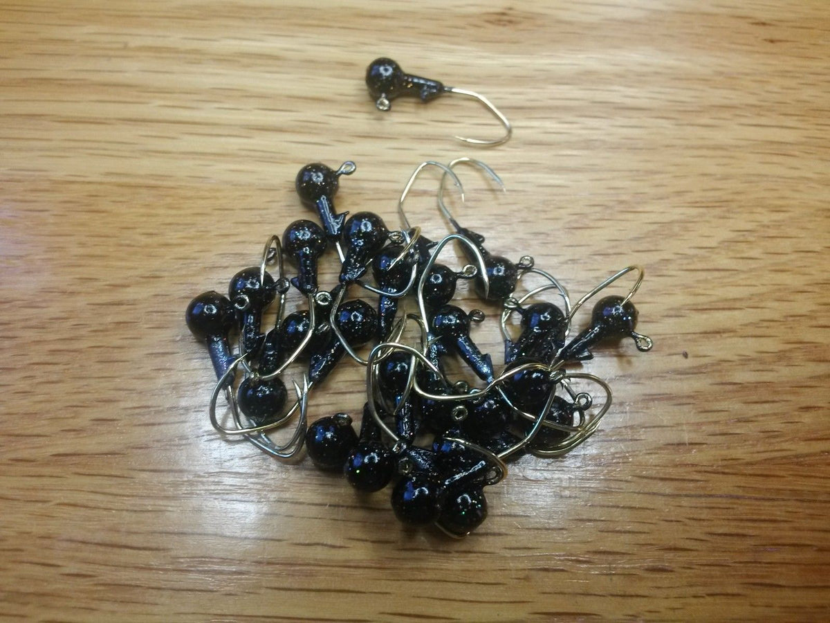 "40 pk. 1/16 oz. Cam's Black  Painted Jigs with Collar and #4 Gold ""NASTY BEND HOOKS"""