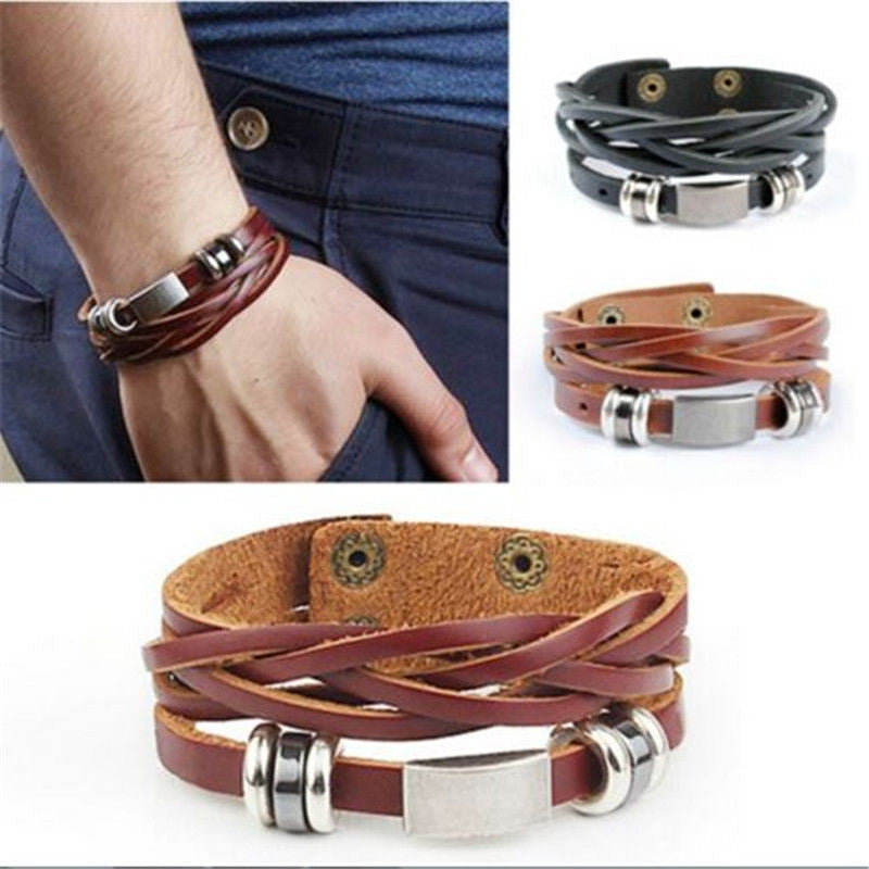 Vintage Men's (Brown) Metal Steel Studded Surfer Leather Bangle Cuff Bracelet