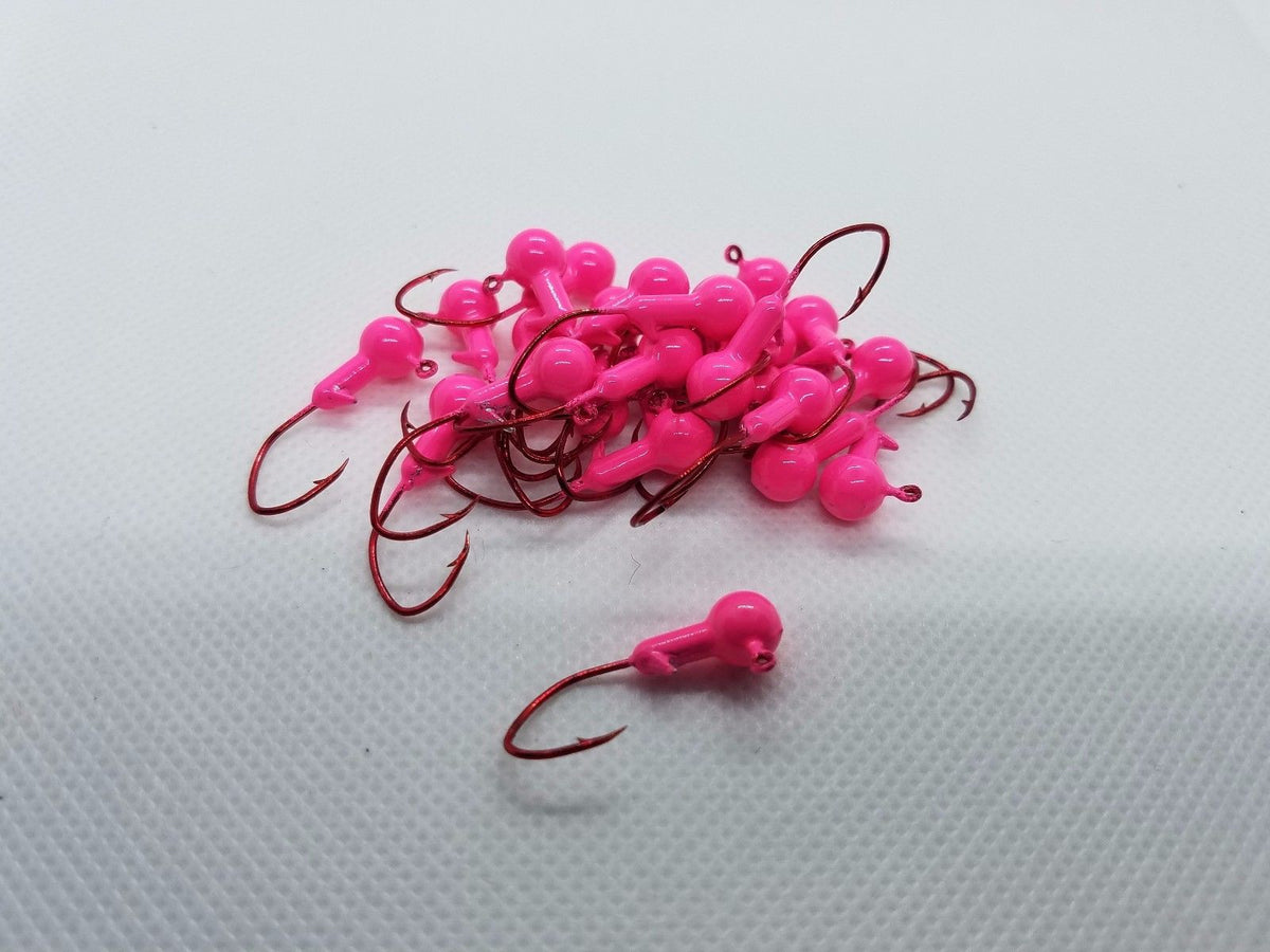 40 pk. 1/16 oz. Cam's Pink Painted Jigs with Collar and #2 Red Chrome NASTY BEND HOOK