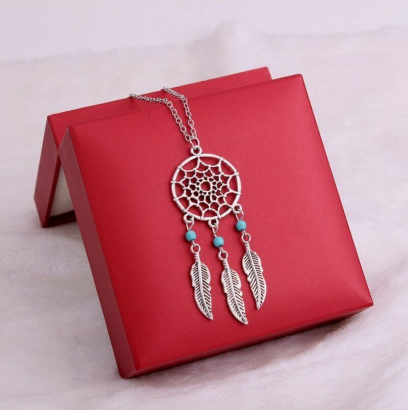 Women Girls Vintage Retro Dream Catcher Feather Choker Pendant Necklace Jewelry