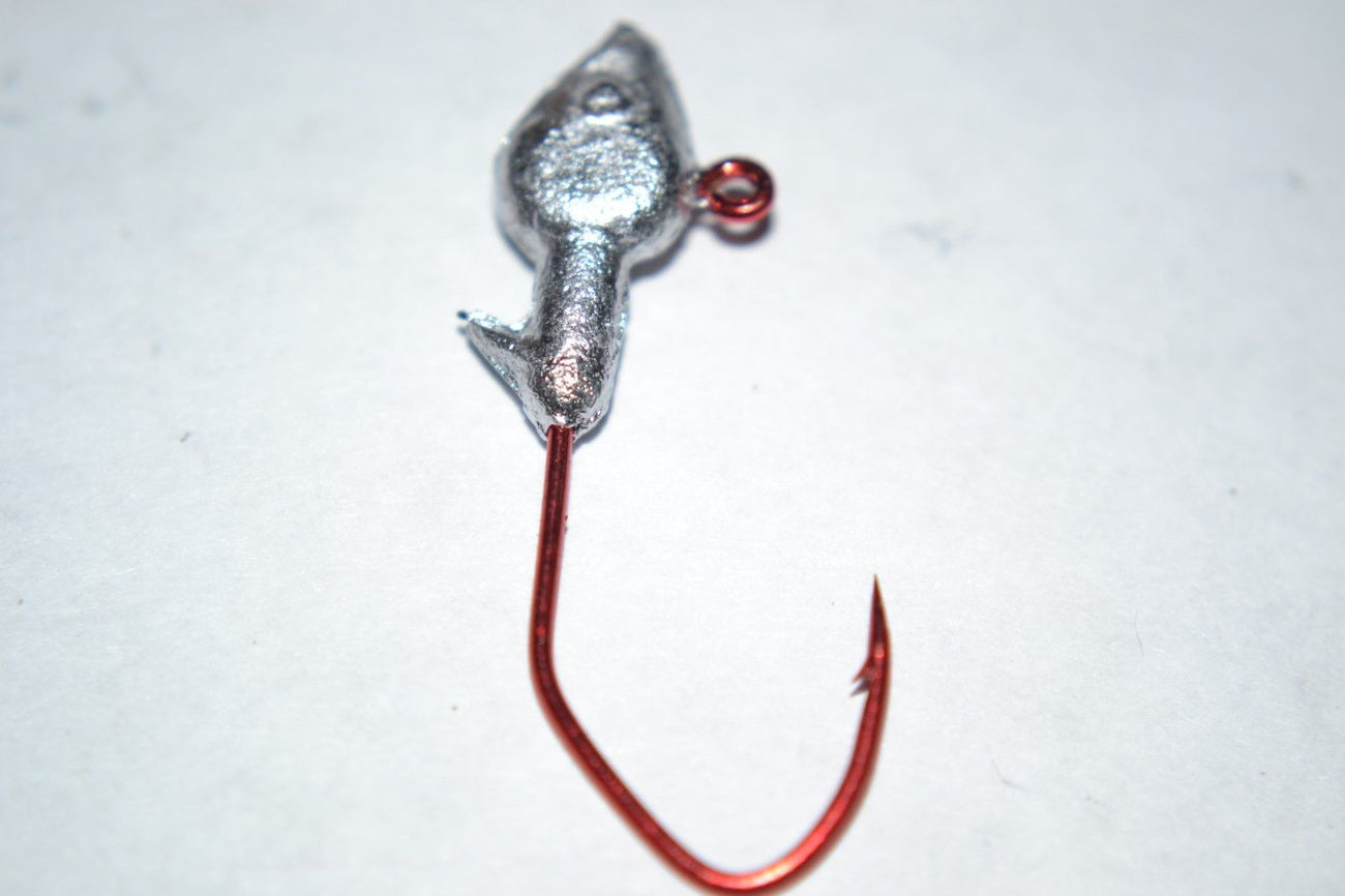 40 pc Cam's 1/32  Minnow Jig Head #1 Red(Laser Sharp) Nasty Bend Hooks Barb Collar
