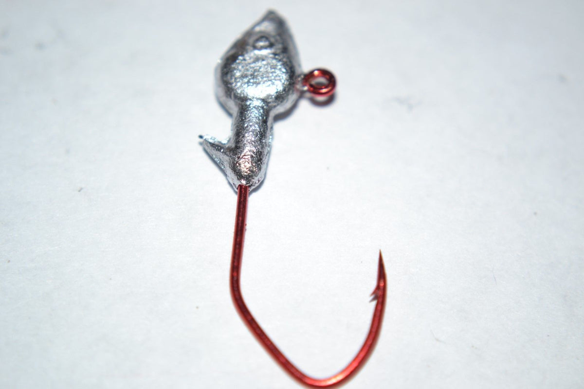 40 pc Cam's 1/32 Minnow Jig Head #2 Red (Laser Sharp) Nasty Bend Hooks  Barb Collar