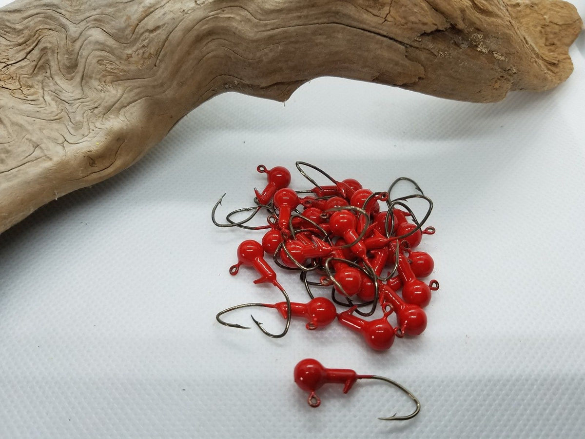 "40 pk. 1/16 oz. Cam's ""Candy Red"" Painted Jigs with Collar and #2 Black Nickel ""NASTY BEND HOOKS"""