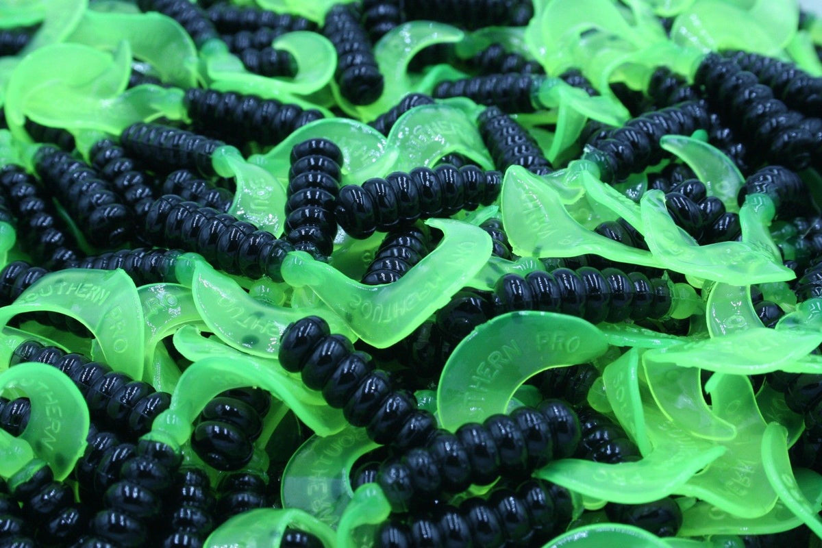 "Cam's 2"" 40pc Black / Chartreuse Twister Tails Soft Crappie Jig& Walleye/ Bass/ Panfish"
