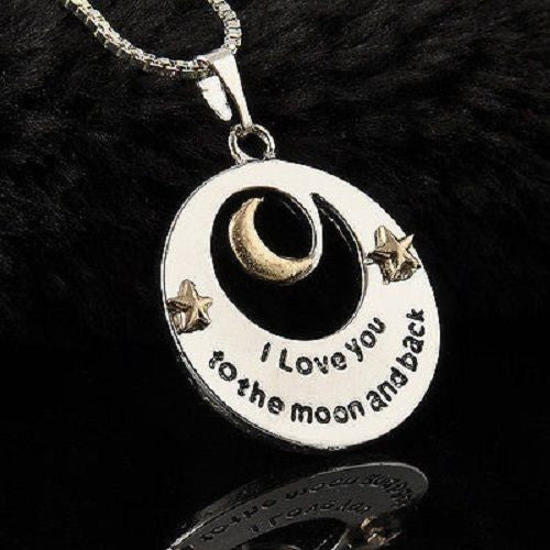 """I LOVE YOU TO THE MOON AND BACK"" Alloy Necklace Pendant Long Chain Silver Gift"