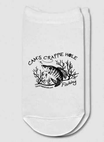 """Cam's Crappie Hole"" Solid White Ankle Socks"