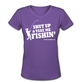 "Ladies V-Neck Purple ""Shut Up"" Short Sleeve Snug T-Shirt"
