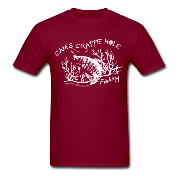 "Cam's""Maroon""Short Sleeve Crappie Hole T-Shirt"