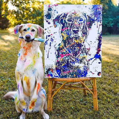 Custom pet portrait Golden Retriever