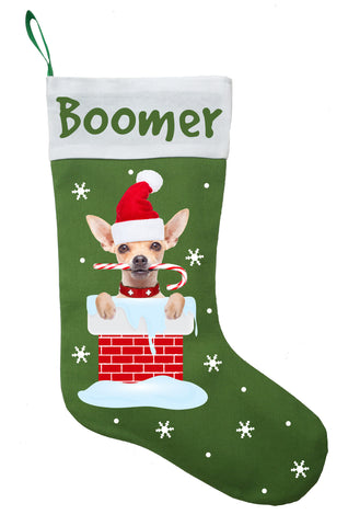 Chihuahua Christmas Stocking - Personalized and Hand Made Chihuahua Stocking - Green