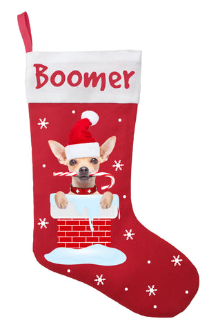 Chihuahua Christmas Stocking - Personalized and Hand Made Chihuahua Stocking - Red