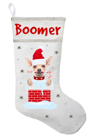 Chihuahua Christmas Stocking - Personalized and Hand Made Chihuahua Stocking - White