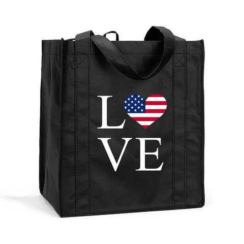 I Love USA Shopping Bag, I Love America Grocery Bag, I Love USA Resuasable Shopping Tote, I Love USA Bag