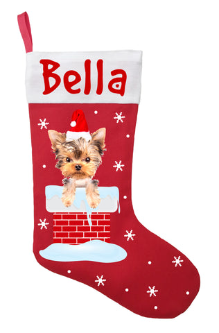 Yorkshire Terrier Christmas Stocking - Personalized and Hand Made Yorkshire Terrier Stocking - Red