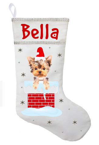 Yorkshire Terrier Christmas Stocking - Personalized and Hand Made Yorkshire Terrier Stocking - White