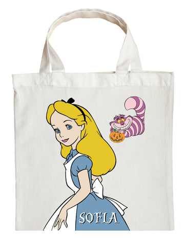Alice in Wonderland Trick or Treat Bag - Personalized Alice in Wonderland Halloween Bag