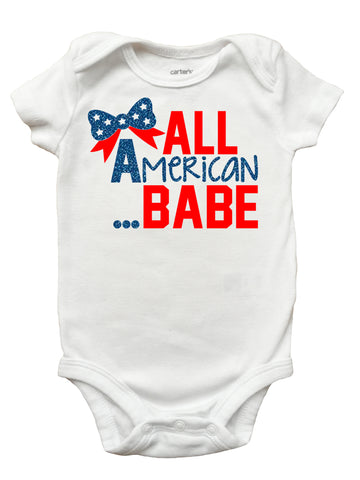 All American Babe Shirt for Girls, Girls 4th of July Shirt, 4th of July Shirt