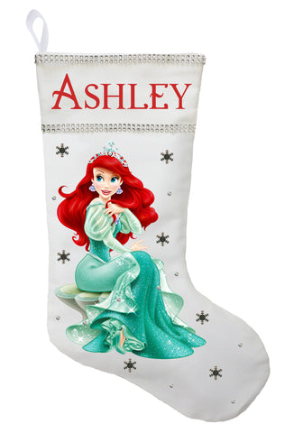 Ariel Christmas Stocking - Personalized and Hand Made The Little Mermaid Christmas Stocking