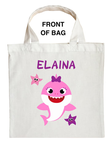 Baby Sister Shark Trick or Treat Bag, Personalized Baby Girl Shark Halloween Loot Bag, Sister Shark Halloween Bag, Sister Shark Candy Bag