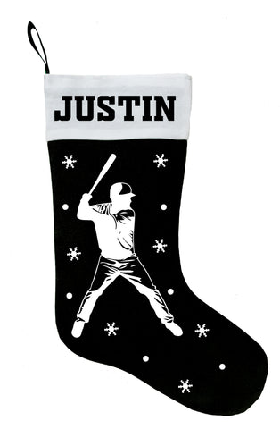 Baseball Player Christmas Stocking, Personalized Baseball Player Stocking, Baseball Player Christmas Gift