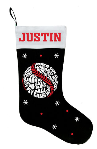 Baseball Christmas Stocking, Personalized Baseball Stocking, Baseball Christmas Gift
