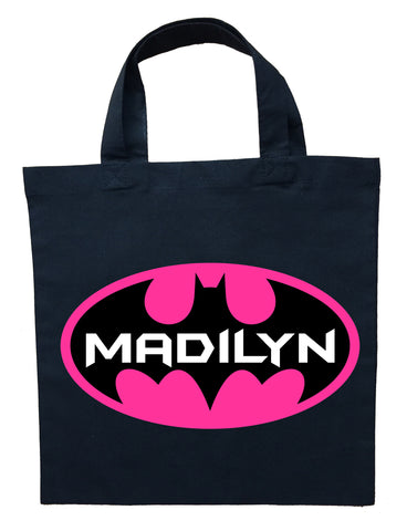 Bat Girl Trick or Treat Bag - Personalized Batgirl Halloween Bag